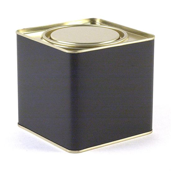 8-oz. Black Plug-top Tin with lid